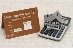 Imparando circa gli interessi ipotecari valuta i costi Immagine Stock Libera da Diritti