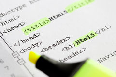 Imparando come sviluppare una pagina Web - Html5/Css3 Immagini Stock Libere da Diritti