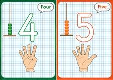 imparando i numeri 0-10, flash card, attività prescolari educative illustrazione di stock