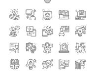 Imparando la linea sottile Ben-elaborata griglia 2x delle icone 30 di vettore perfetto del pixel per i grafici ed i Apps di web illustrazione di stock