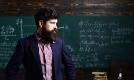 imparare Ritratto dello scolaro diligente ed insegnante che parla alla lezione I buoni istitutori sono spesso padroni di comunica fotografie stock