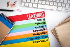 imparare Scrivania con una tastiera di computer e le pagine di colore Fotografie Stock Libere da Diritti