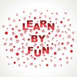 Impari dalla parola di divertimento con negli alfabeti Fotografia Stock