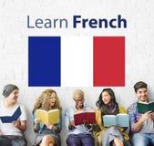 Impari il concetto online dell'insegnamentoare di lingue francesi Fotografia Stock Libera da Diritti