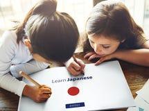 Impari il concetto online dell'insegnamentoare di lingue giapponesi Fotografia Stock Libera da Diritti