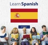 Impari il concetto online dell'insegnamentoare di lingue spagnole Immagini Stock