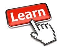Impari il cursore della mano e del tasto Immagini Stock