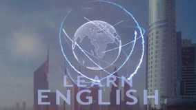 Impari il testo inglese con l'ologramma 3d del pianeta Terra contro il contesto della metropoli moderna stock footage