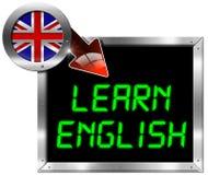 Impari l'inglese - tabellone per le affissioni del metallo Fotografia Stock