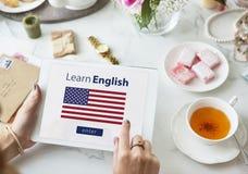 Impari la lingua inglese online, concetto di istruzione Immagine Stock Libera da Diritti