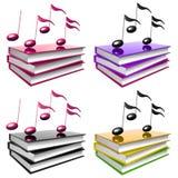 Impari la musica e la canzone dal simbolo dell'icona dei libri Immagine Stock