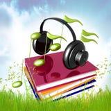 Impari la musica e la canzone dal simbolo dell'icona dei libri Immagini Stock Libere da Diritti
