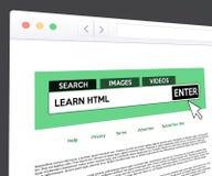 Impari la ricerca di web del HTML immagine stock