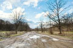 Impassable country road in early spring Stock Image