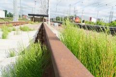 Impasse ferroviaria L'estremità della strada ferrata immagini stock libere da diritti