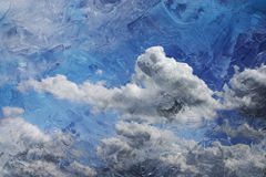 Impasto Sky. Impasto textured image of a beautiful cloudy blue sky Stock Photos