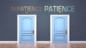 Free Impatience And Patience As A Choice - Pictured As Words Impatience, Patience On Doors To Show That Impatience And Patience Are Stock Photography - 187479772