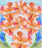 Watercolor Impatience flower plant impressionist style  garden. Peach coral color bouquet  growing in a garden under a blue sky Royalty Free Stock Images