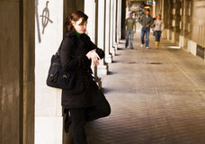 Impatience urban woman Royalty Free Stock Image