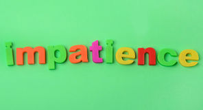 Impatience word on background Stock Photography