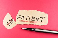 Impatient to patient. Alter impatient word and changing it to patient stock photo
