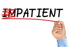 Impaziente diventa l'autocontrollo paziente Fotografia Stock