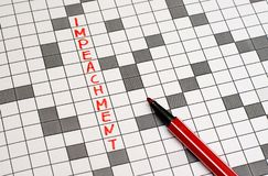 Impeachment. Text in crossword. Red letters royalty free stock photography