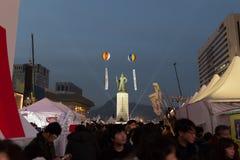 Impeachmentprotest för president Park Geun-hye Fotografering för Bildbyråer