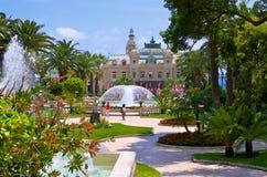 Impeccable garden in Monaco. Garden and fountains near the Casino in Monaco Royalty Free Stock Photography