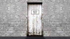 Impedisca di entrare il segno su una porta aperta ad un fondo di schermo blu illustrazione vettoriale