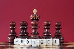 Impegna il re proteggente di scacchi Fotografia Stock Libera da Diritti
