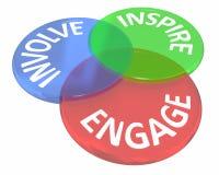 Impegni comprendono ispirano il gruppo dell'unire comunicano Venn Circles Immagini Stock Libere da Diritti