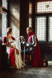 Impegno di un cavaliere e di una signora Fotografie Stock