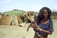 Impending famine in Afar by climate change. Ethiopia, Afar region: The Afar, an ethnic group of semi-nomadic cattle farmers in the vicinity of the 'village' Stock Photos