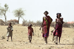 Impending famine by climate change, Ethiopia. Ethiopia, Afar region: In Afar, an ethnic group of semi-nomadic cattle farmers in the vicinity of Awasch is talk of Stock Photos