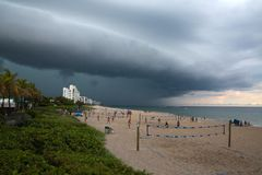 Impending Rain Storm at Deerfield Beach, Florida Royalty Free Stock Images
