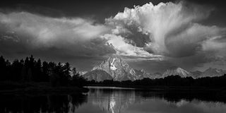 Impending Trouble. A storm system moves in over the Tetons at Oxbow Bend. Taken in Grand Teton National Park, Wyoming Stock Photos