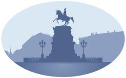 Imperador Nicholas do russo mim monumento em St Petersburg ilustração royalty free