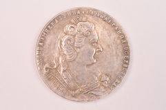 Imperatrice d'argento antica Anna Autocrat del Russo della moneta 1730 della rublo di tutta la Russia Immagini Stock Libere da Diritti