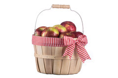 Imperfect apples basket isolated on white background Royalty Free Stock Image