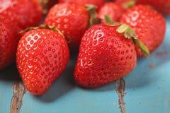 Imperfect fresh organic strawberries stock photos