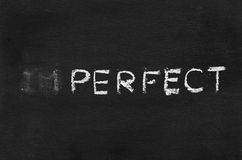 Imperfect hand writing sign. On blackboard royalty free stock images