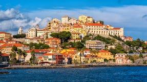Imperia en härlig gammal stad på italienska Riviera, Italien royaltyfri fotografi