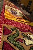 Imperia, Italy - June 10, 2007: Infiorata Ligurian. During the eve of the religious feast of Corpus Christi, including the night, the streets are depposti the Royalty Free Stock Photos