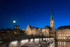 Imperial Abbey of Fraumunster Reichskloster Fraumunster , Zurich Switzerland royalty free stock image
