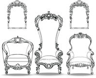 Imperial Baroque armchairs set with luxurious ornaments. Vector French Luxury rich intricate structure. Victorian Royal. Style royalty free illustration