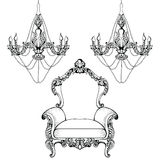 Imperial Baroque chandelier decoration accesories collection armchairs luxurious ornament. Vector French Luxury rich Royalty Free Stock Images