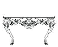 Imperial Baroque chest table. Vector French Luxury rich intricate ornamented structure. Victorian Royal Style decor Royalty Free Stock Photos