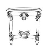 Imperial Baroque Console Table. French Luxury carved ornaments decorated table furniture. Vector Victorian Royal Style Royalty Free Stock Image