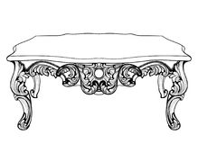 Imperial Baroque Console Table. French Luxury carved ornaments decorated table furniture. Vector Victorian Royal Style Royalty Free Stock Photos